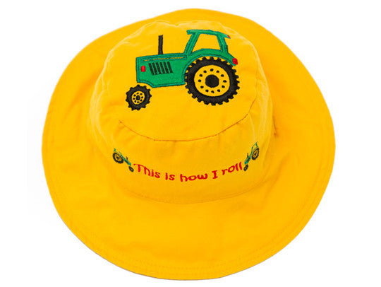 Flapjacks Reversible Sun Hat - Tractor / Dog