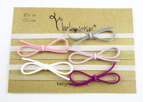 Baby Wisp Headbands - 5 Pack Ultra Skinny Faux Suede Bows Gift Set