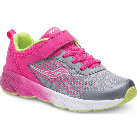 Saucony Wind Grey / Pink - Girls Running Shoe