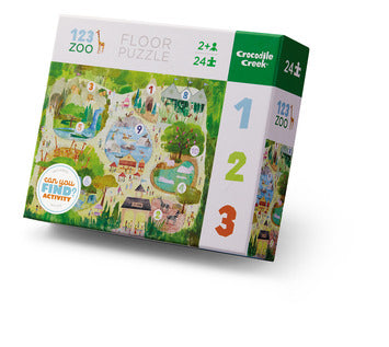 24 Piece Floor Puzzle Look and Find Activity - 123 Zoo