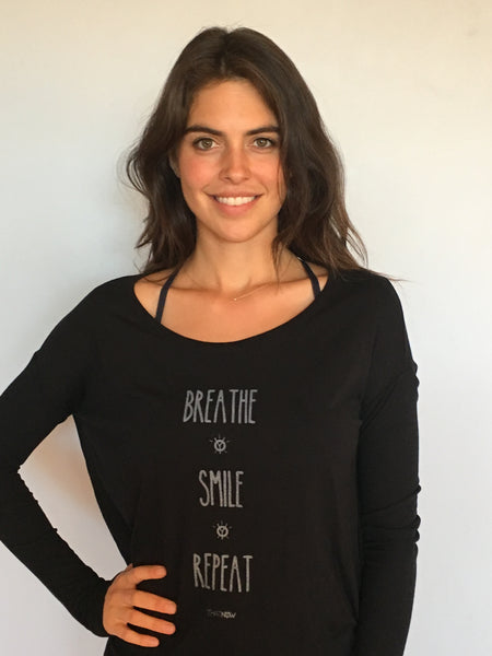 breathe smile repeat long sleeve flowy tee