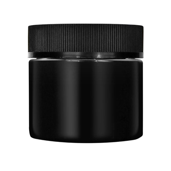 2 oz Opaque Black Glass Jar With Foam Liner - Child Resistant (200 Count) - Online Headshop Smoke Shop