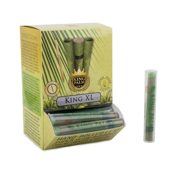 King Palm Hand Rolled Leaf - King XL Tube Singles (Dispenser Tub of 50 Units) - Online Headshop Smoke Shop