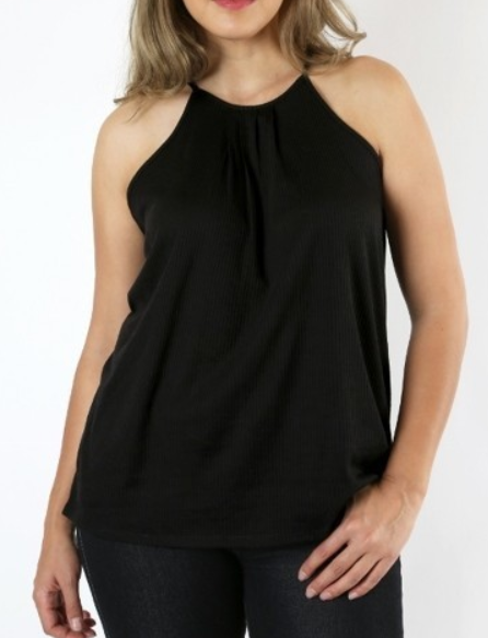 RIBBED FRONT PLEAT SPAGHETTI TANK