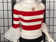 Red and white striped knit blouse