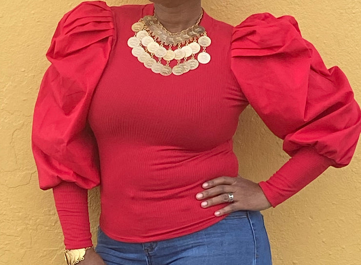 Red Sleeve blouse