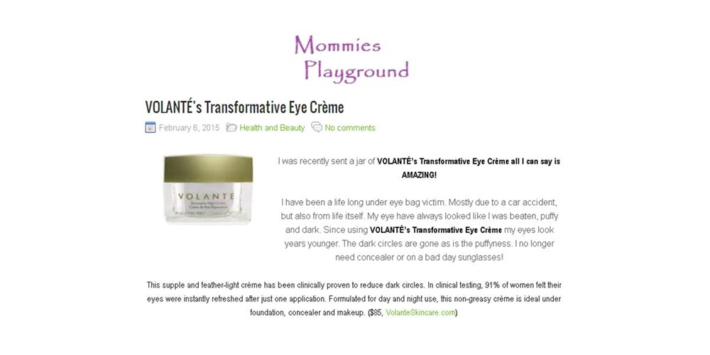 Mommie's Playground Blog Raves about the VOLANTÉ Transformative Eye Crème
