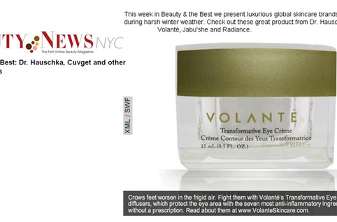 Beauty News NYC features VOLANTÉ Transformative Eye Crème