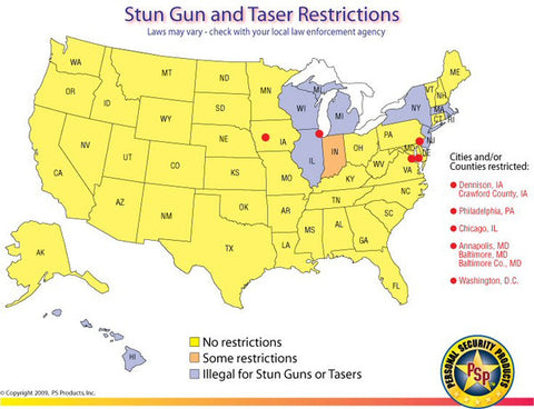 Stun Gun Restriction Map