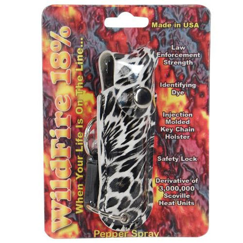 Wildfire Leatherette Holster and Quick Release Key Chain Leopard Black/White