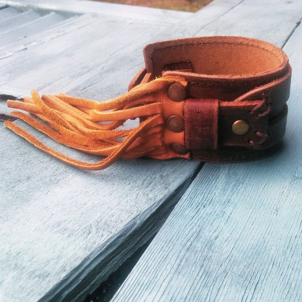 Tan FRINGE Distressed Leather Cuff 005F - The Jewelry Junkie