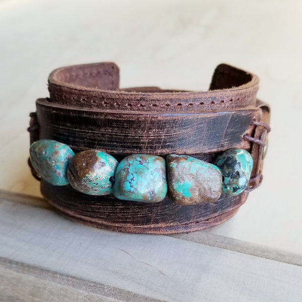 Dusty Leather Wide Cuff with African Turquoise Chunks 006p - The Jewelry Junkie