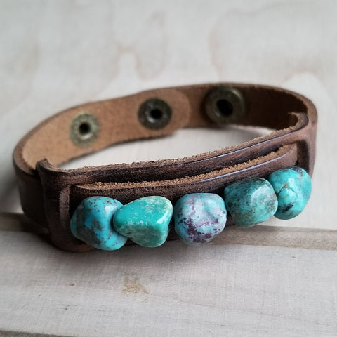 Dusty Leather Narrow Cuff with African Turquoise Chunks 006q - The Jewelry Junkie