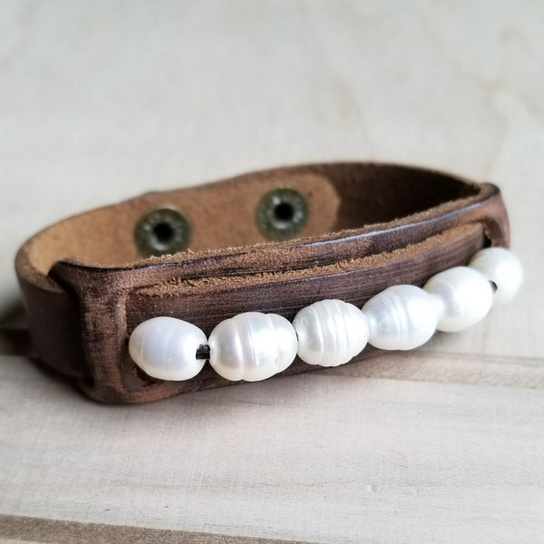 Dusty Leather Narrow Cuff with Genuine Freshwater Pearls 006r - The Jewelry Junkie