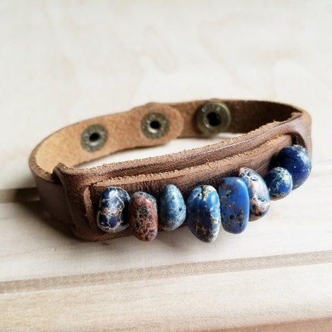Dusty Leather Narrow Cuff with Navy Blue Regalite Stones 006u - The Jewelry Junkie