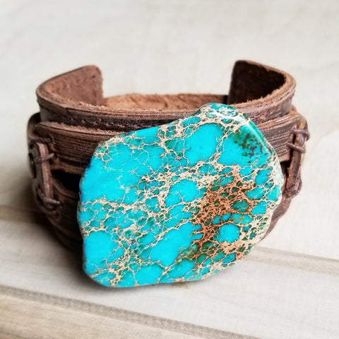 Dusty Leather Wide Cuff with Regalite Slab 006y - The Jewelry Junkie
