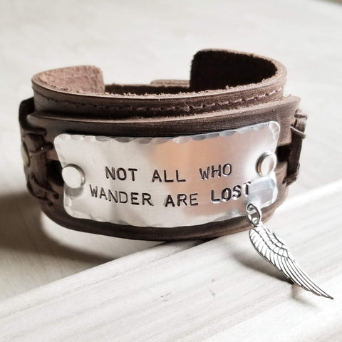 Not All Who Wander Are Lost Dusty Leather Wide Cuff 007v - The Jewelry Junkie