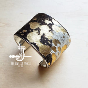 Hair-on-Hide Mixed Metallic Leather Cuff Bangle Bracelet 010z