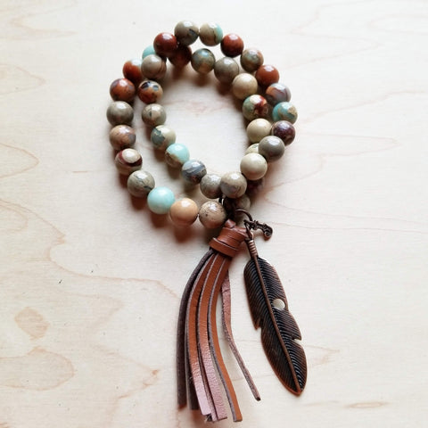 Aqua Terra Double Strand Beaded Bracelet w/ Tassel 019H* - The Jewelry Junkie