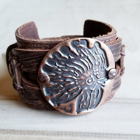 Indian Headdress Cuff in Copper on Wide Dusty Leather 069kk - The Jewelry Junkie
