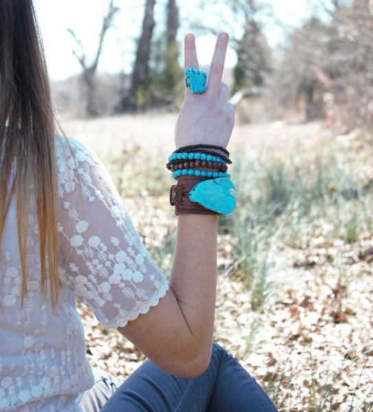 Chunky Blue Turquoise on Leather Cuff 230X - The Jewelry Junkie