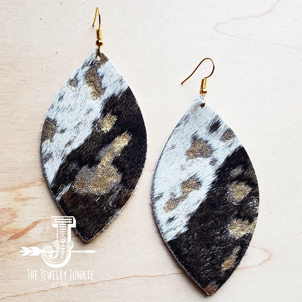 Leather Oval Earring-Mixed Metallic Hair on Hide 200b