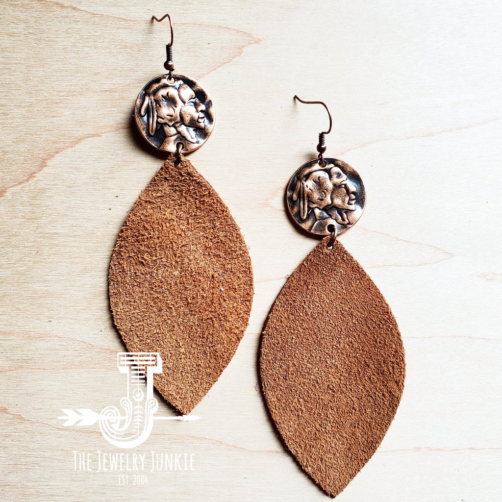 Copper Indian Leather Earrings by The Jewelry Junkie