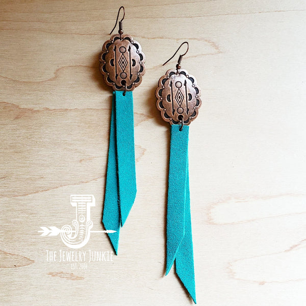 Leather Oval Earrings with Turquoise Suede by The Jewelry Junkie