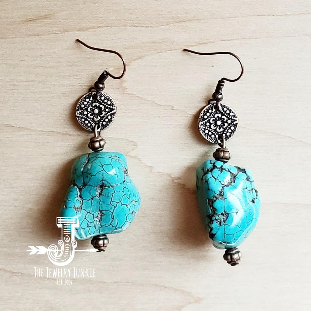Turquoise Chunk Earring w/ Copper Connector 200o