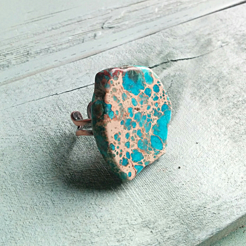 Blue Regalite Chunky Ring 012k - The Jewelry Junkie
