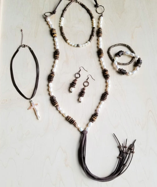 Freshwater Pearl and Wood Necklace with Fringe Tassel 237B