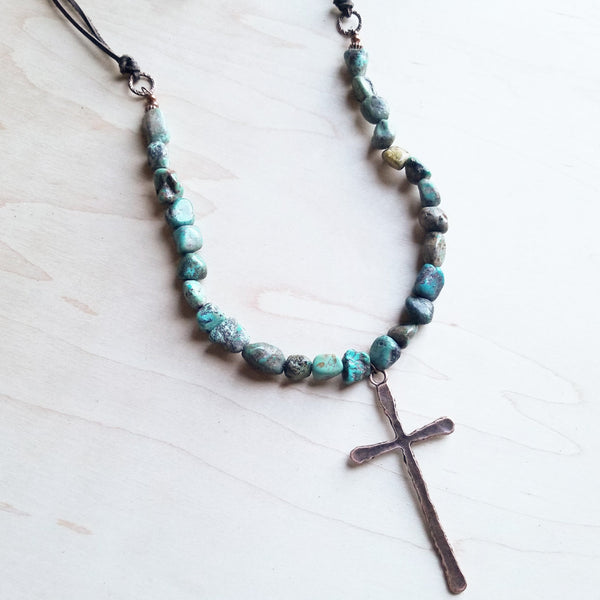 African Turquoise Necklace with Large Copper CROSS Pendant 242u - The Jewelry Junkie