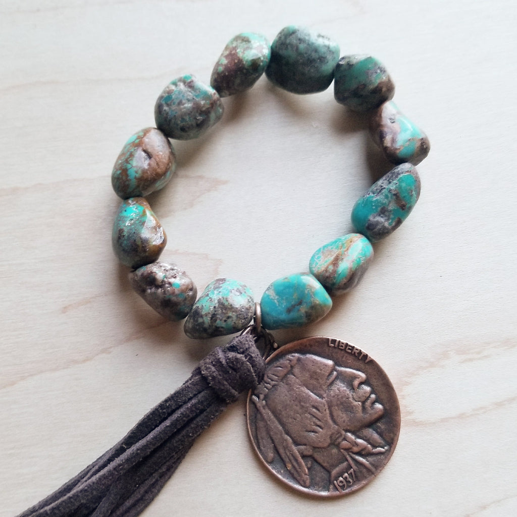 African Turquoise Bracelet with Indian Head Coin and Tassel 242w ...