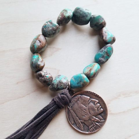 African Turquoise Bracelet with Indian Head Coin and Tassel 242w - The Jewelry Junkie