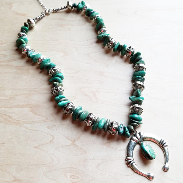 Squash Blossom Necklace in Natural Turquoise 246i - The Jewelry Junkie