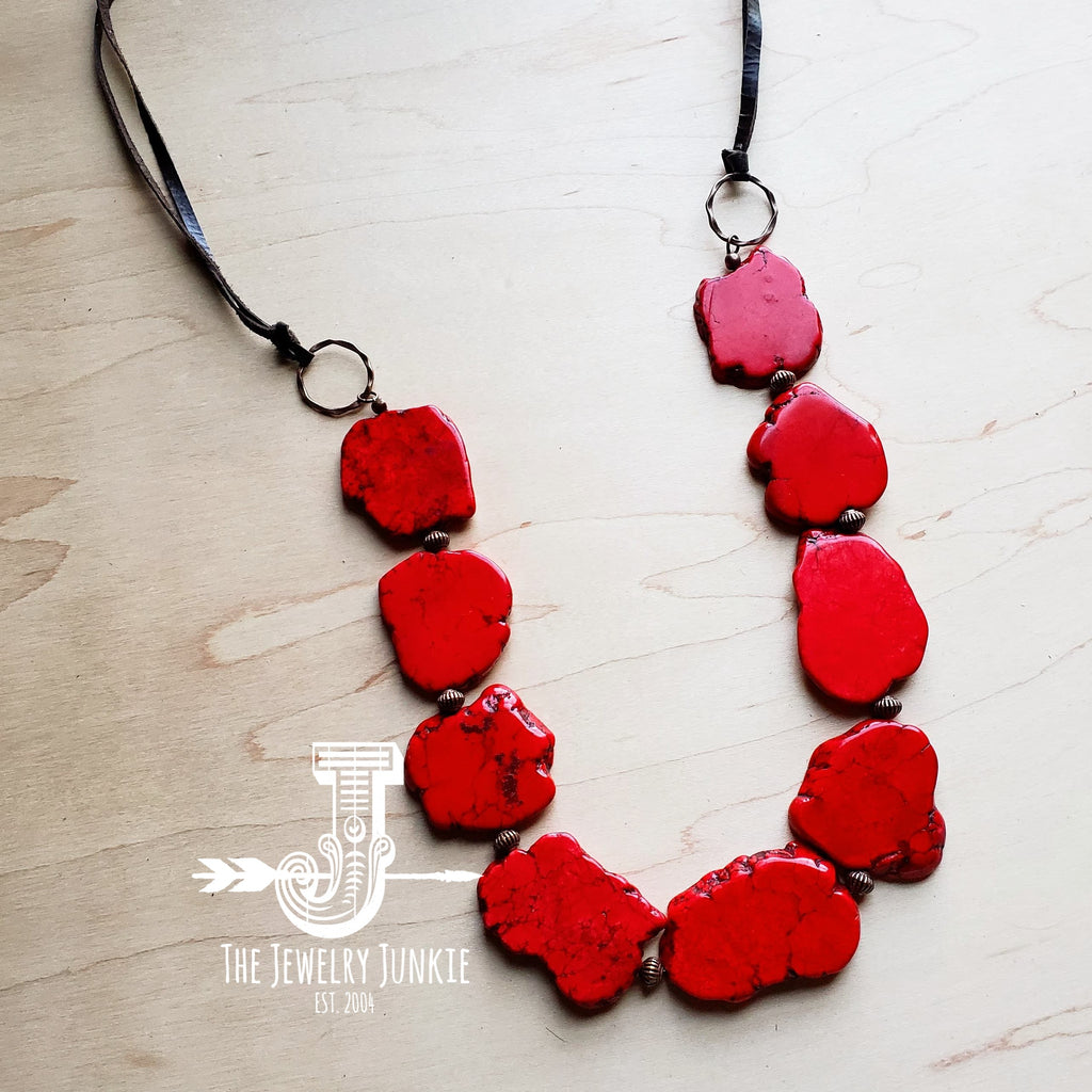 Red Turquoise Slab Necklace 249x