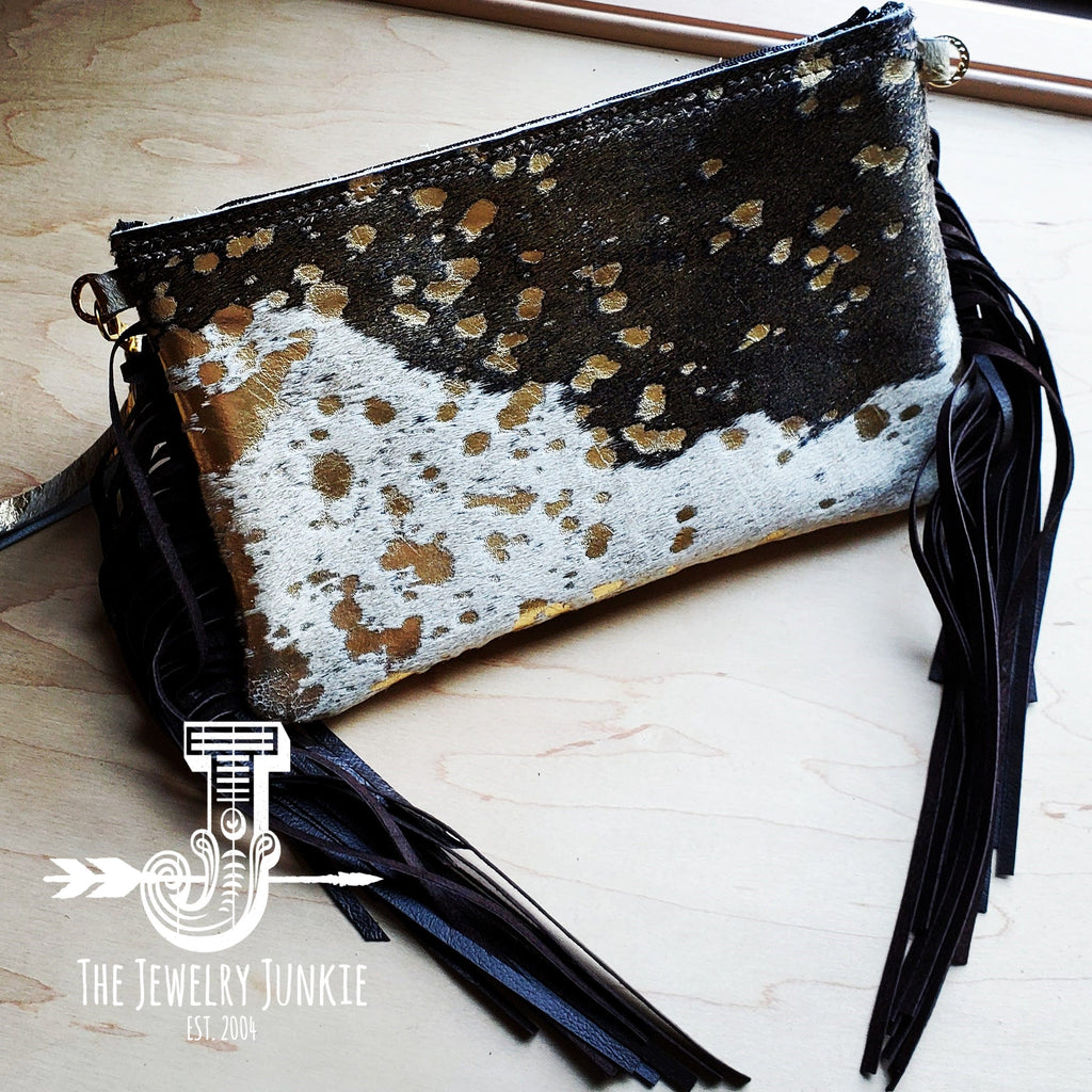 Mixed Metallic Hair on Hide Clutch Handbag w/ Leather Fringe  (502o)