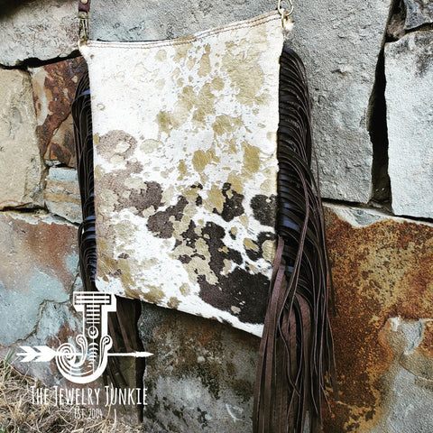 A Mixed Metallic Hair on Hide Handbag w/ Leather Fringe from Jewelry Junkie