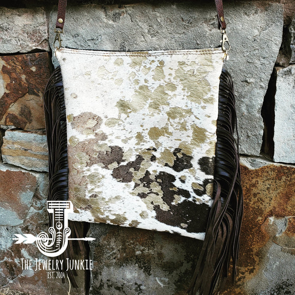 Mixed Metallic Hair on Hide Crossbody Handbag w/ Leather Fringe  502p