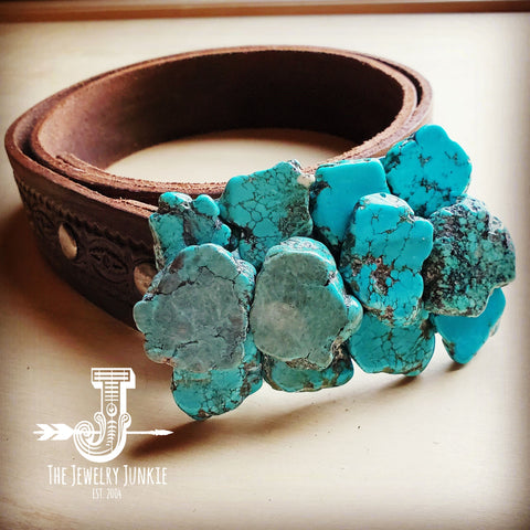 Turquoise Slab Belt Buckle w/ Embossed Leather Belt 901b