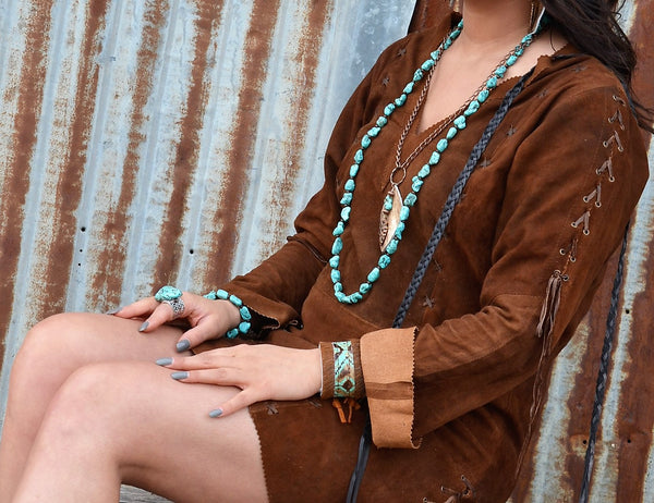 Boho Beaded Necklace w/ Turquoise & Wooden Beads (248c)
