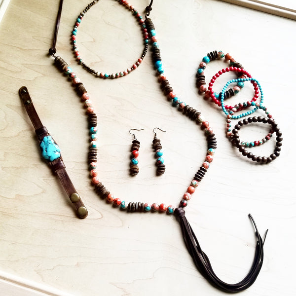 Multi-Colored Turquoise Necklace with Wood Beads and Leather Tassel 236B