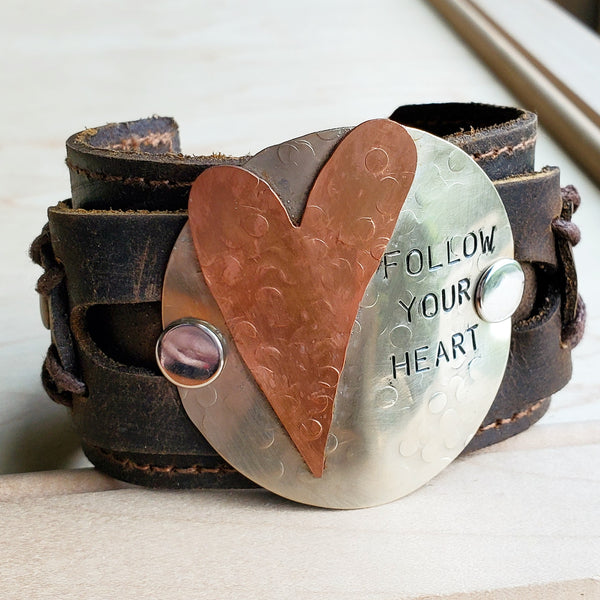 FOLLOW YOUR HEART Distressed Leather Cuff 004E