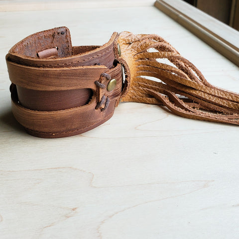 Tan FRINGE Distressed Leather Cuff 005F
