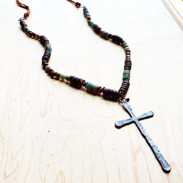 Aqua Terra Wood Necklace with Copper Cross 237d