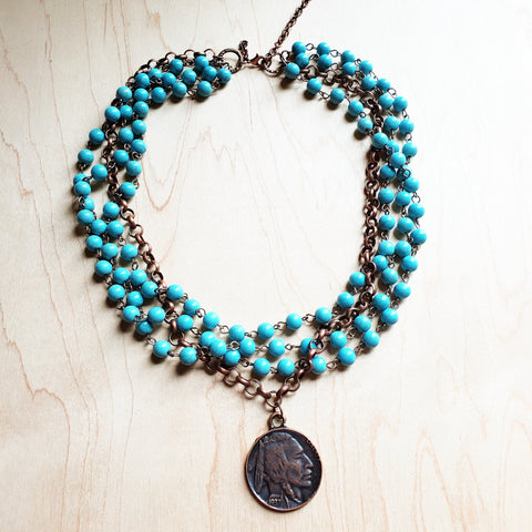 Blue Turquoise Collar-Length Necklace with Indian Head Coin 114E