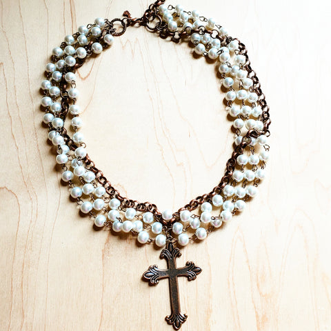 Pearl and Copper Collar-Length Necklace with Copper Cross 114G