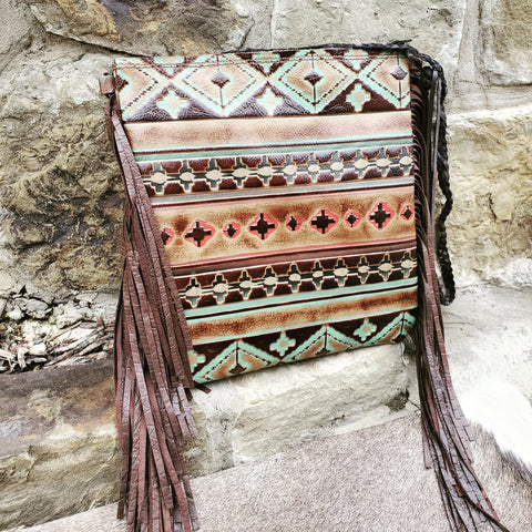 An Embossed Navajo Print Leather Handbag from Jewelry Junkie