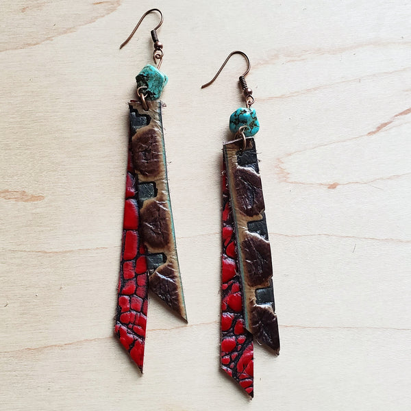 Leather Rectangle Earrings w/ Turquoise in Turquoise Navajo 224w