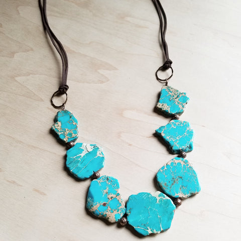 Chunky Blue Regalite Beaded Necklace 229H - The Jewelry Junkie